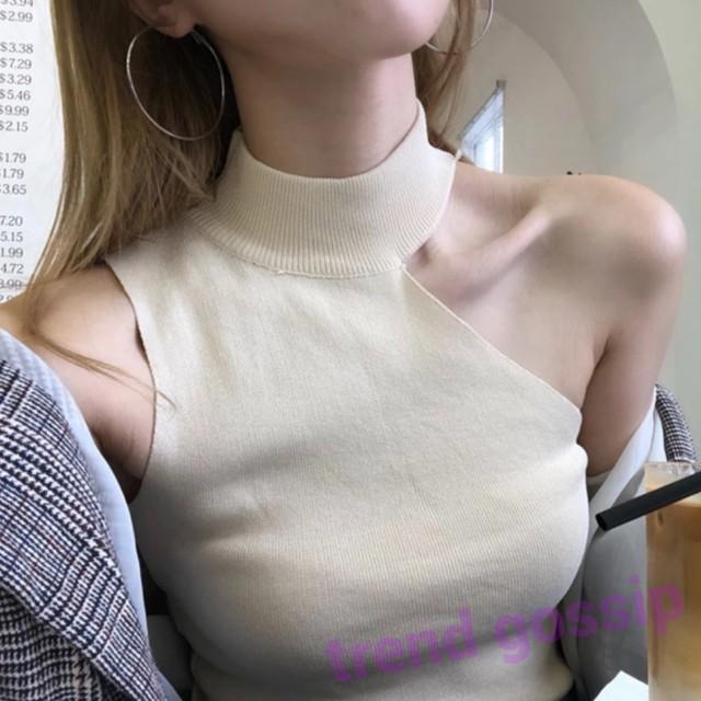 【White即納】ワンショルカットノースリーブリブニット/4色展開