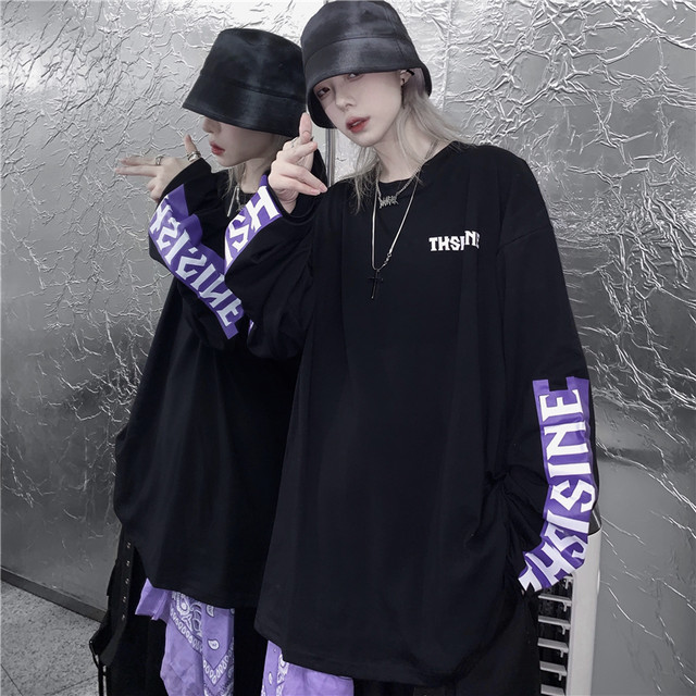 【トップス】暗黒系切り替えファッションストリート系Tシャツ34036373
