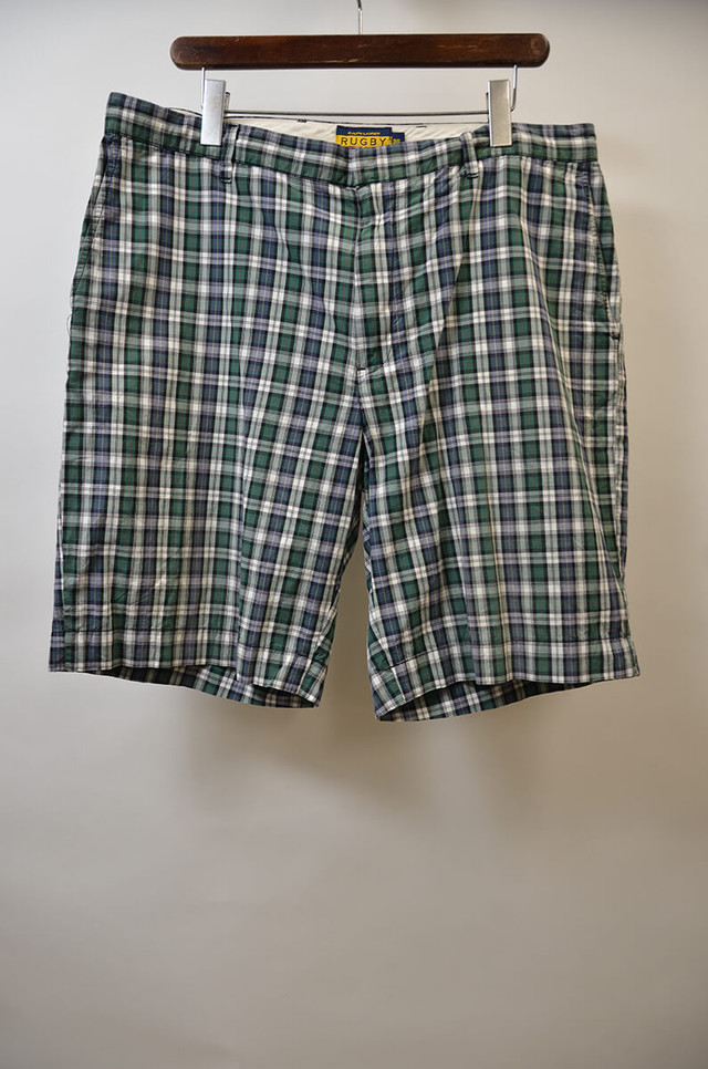 【w36】RUGBY by Ralph Lauren ラグビー PLAID SHORT チェックショーツ GREEN 400613190609