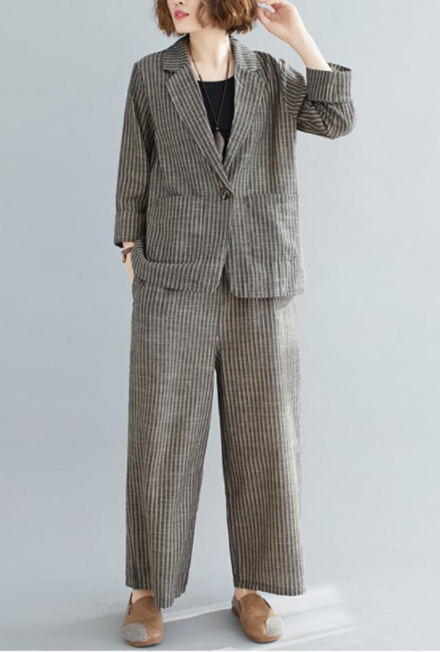 【ゆったりサイズのセットアップ☆レディース ジャケット+パンツ 】セットアップ レディース スーツ テーラードジャケット ワイドパンツ 2点セット ゆったり リネン 綿 大きいサイズ ウエストゴム 韓国ファッション 春 夏 送料無料