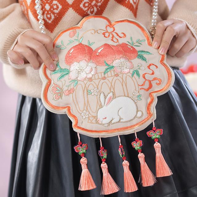 【海棠私语シリーズ】★チャイナ風バッグ★ ショルダーバッグ 兎 フリンジ 刺繍 可愛い 合わせやすい オリジナル