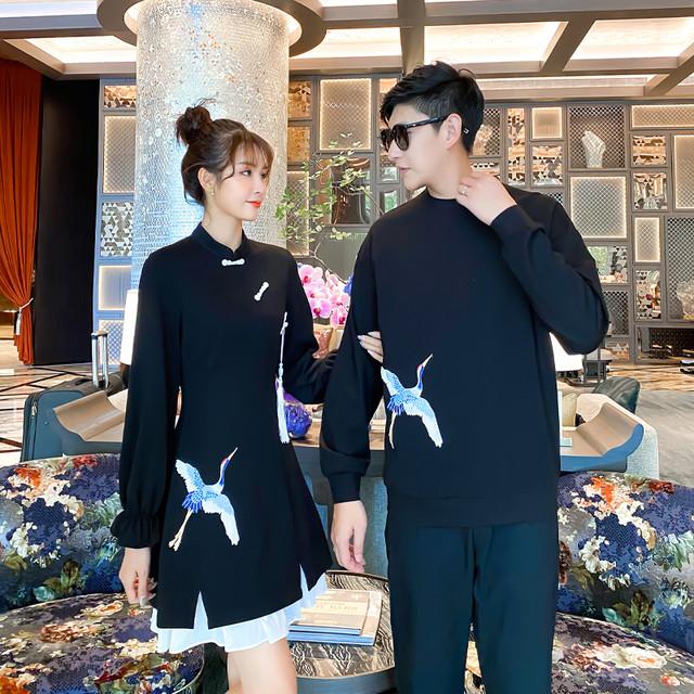 鶴 チャイナ ワンピース 0847 メンズプルオーバー カップル ペアルック リンクコーデ カジュアル お揃い デート チャイナ服 チャイナドレス