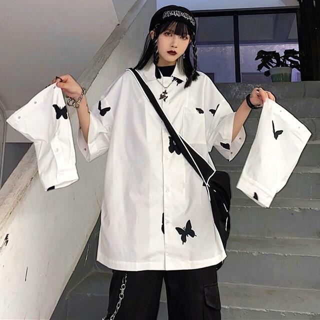 【トップス】プリントファッションストリート系通勤通学長袖切り替えシャツ41436716