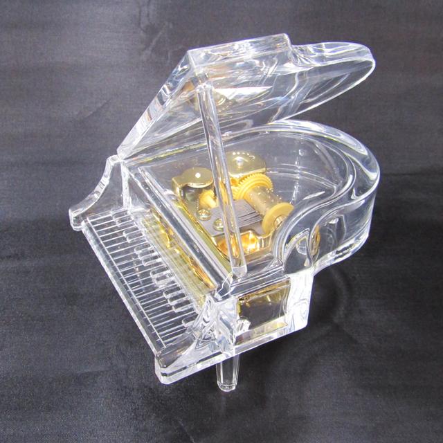 LEDライト付き アクリルピアノオルゴール【クリアブラック】
