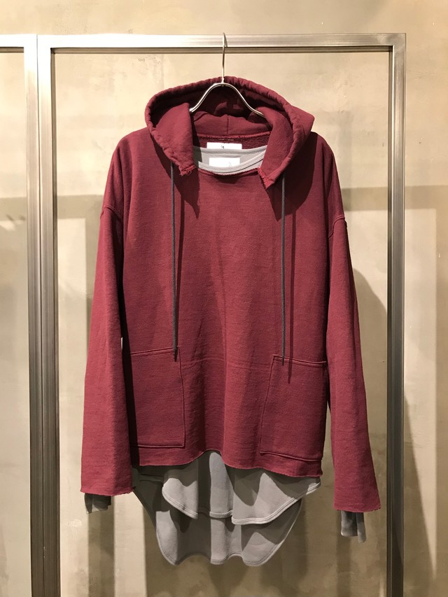 TrAnsference cut off sweat hoodie - dark red