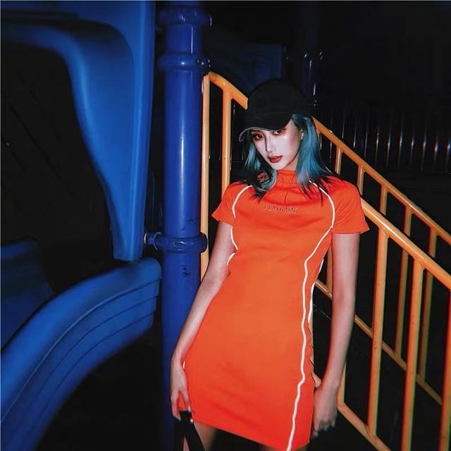 【ラスト1点】side line orange dress