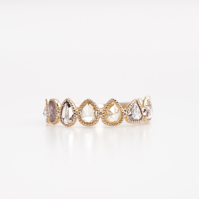 Rosecut diamond eternity ring / Milgrain multi