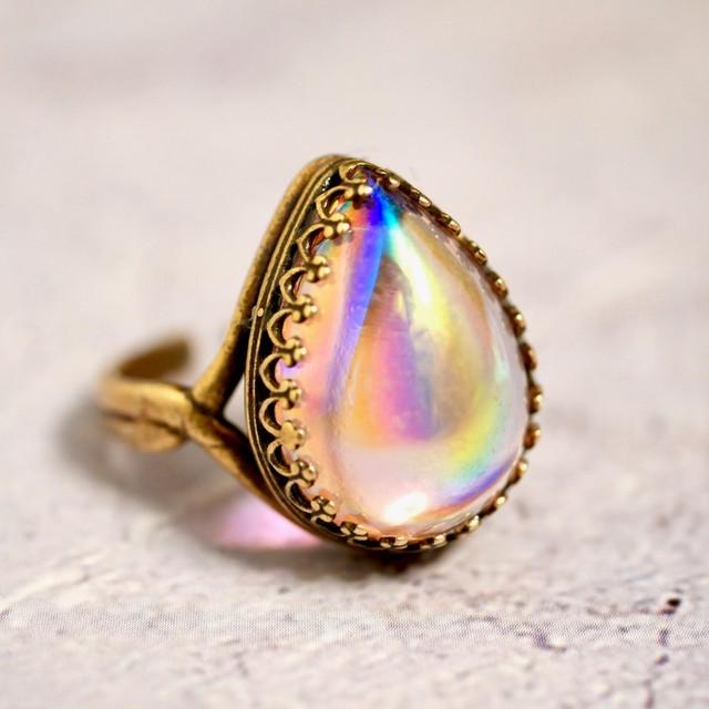 オーラピンク  西ドイツ製 ヴィンテージガラス リング(指輪)