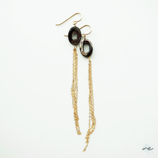 Long Dress Earrings (Mother of Pearl)/14KGF