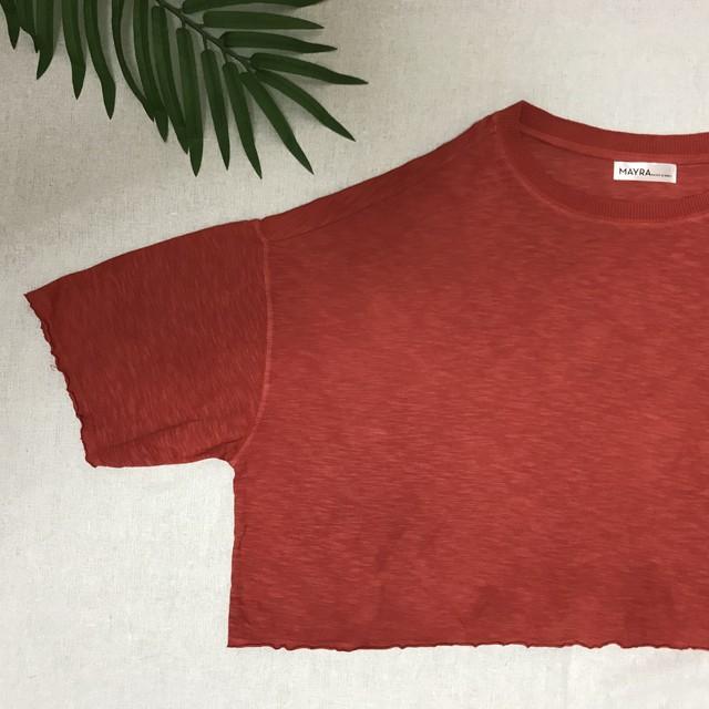 【MENS】フランス製水牛飾りボタン・茜染長袖Tシャツ