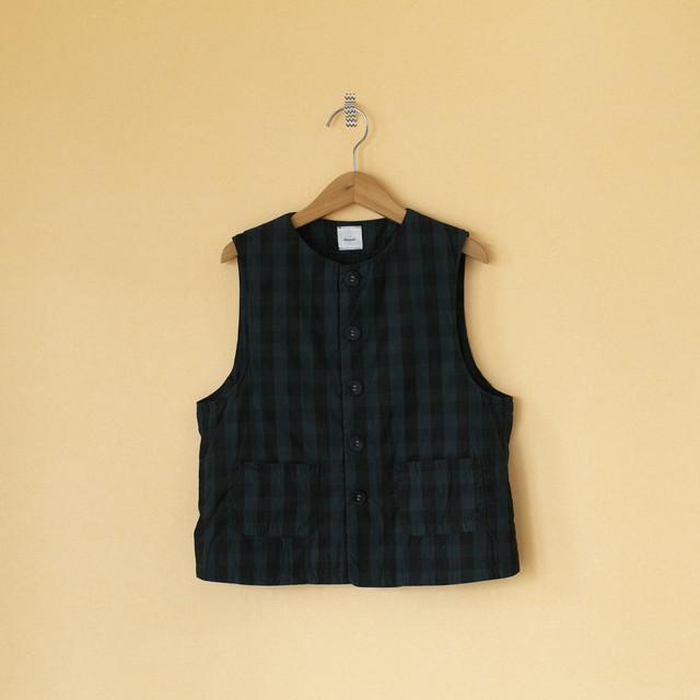Gauze# ガーゼ G522 gingham classic vest ギンガムクラシックベスト・ブラック x ネイビー
