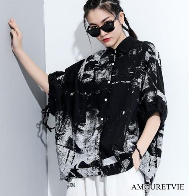 シャツ ブラウス アシンメトリー スタイリッシュ 黒 ブラック 白 ホワイト 半袖 ゆったり モード系 ヴィジュアル系 1471