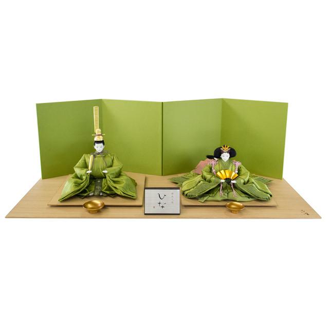 人形作家「清水久遊」作   無垢・緑(正絹・親王飾り限定 1)セット販売