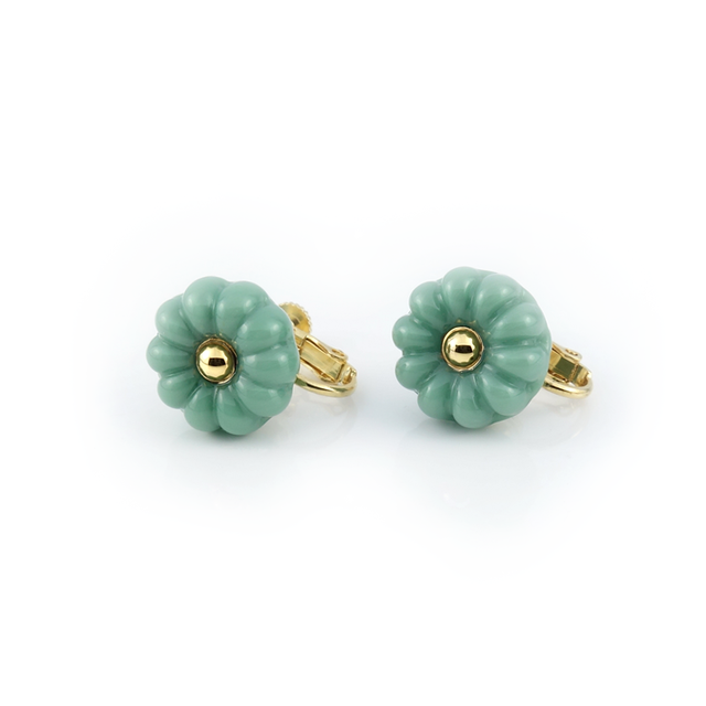 "flower cushion_earrings ""mint"""