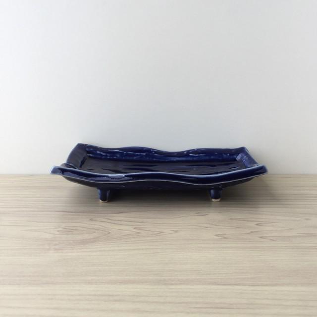 【有田焼】新ブルー 変型長角焼物皿【在庫限り】