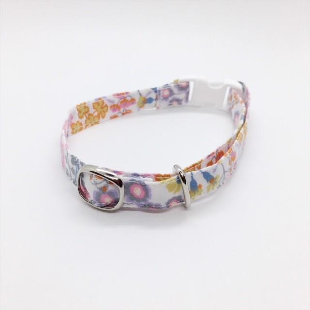 パステルの花がかわいい猫の首輪-リバティ♫Primula Blossom-ピンク(リボンなし)【cat_2507】