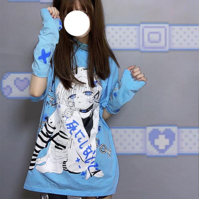 【トップス】漫画日本語プリント半袖ストリート系カジュアルTシャツ48535963