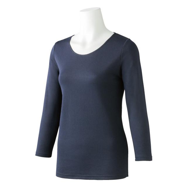 <11/10発売> 婦人 ウォームモイストインナー 肌側綿100裏起毛 8分袖 (ネイビー) 4994403