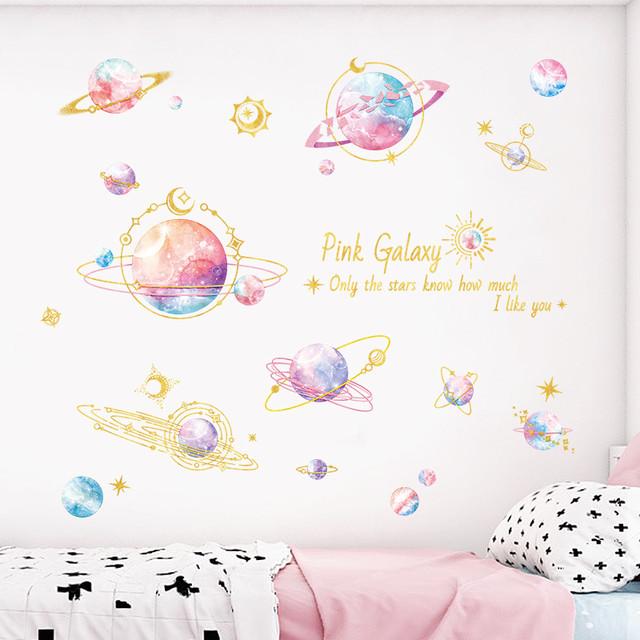 星 宇宙 ゆめかわいい ウォールステッカー - Pink Galaxy