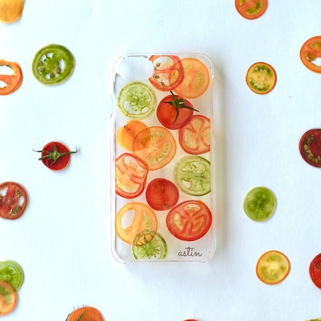 カラフルミニトマト 押し野菜スマホケース