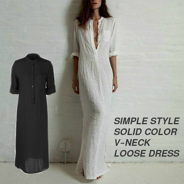 SIMPLE STYLE SOLID COLOR V-NECK LOOSE DRESS / シンプルスタイルソリッドカラー V ネックルーズドレス (SKU : 18WD149)