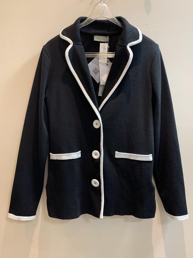 【ann max / アンマックス】ブラックホワイトニットジャケット(131-301)