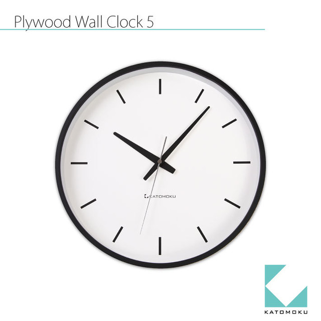 KATOMOKU plywood wall clock 5 km-49BRC 電波時計