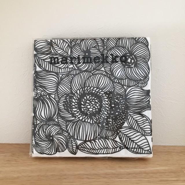 【marimekko】ランチサイズ ペーパーナプキン KURJENPOLVI ブラック
