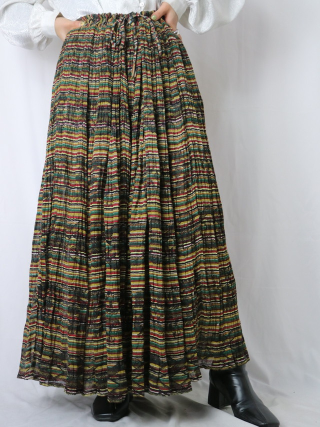 India cotton border pattern gather skirt【5556】