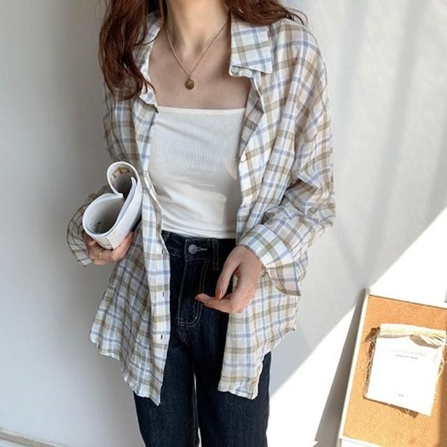 ◆即納◆ ラペルチェック柄 前ボタン ロング シャツ 2S-026