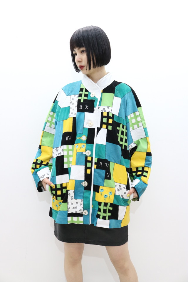 patchwork print leather jacket / OU11300016