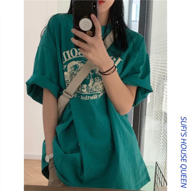 【Queenシリーズ】★Tシャツ★ トップス 6color 白or緑or黒orピンクor紫orオレンジ 合わせやすい アルファベット