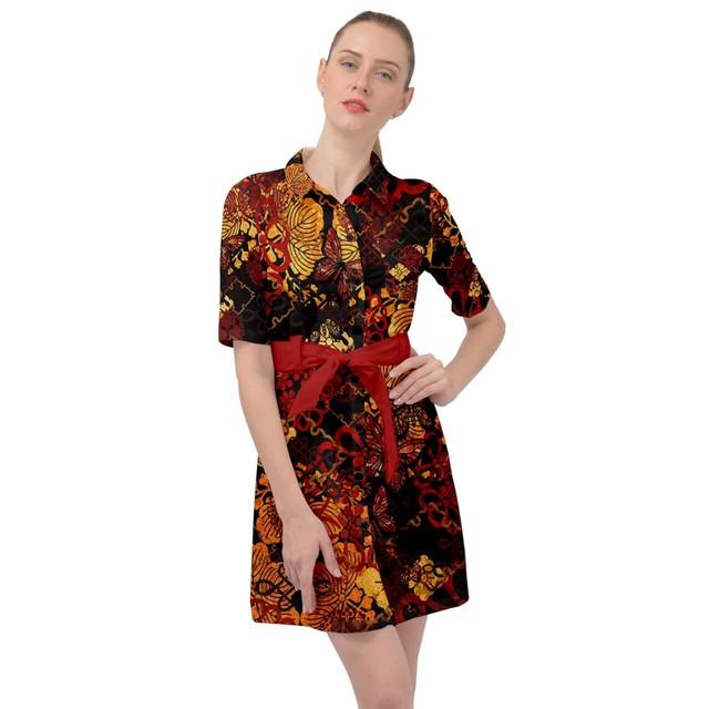 家紋装飾Red blackベルテッドシャツドレス