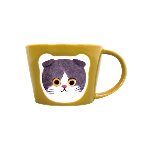猫マグカップ(エクートミネットフェイスマグ)スコティッシュはちわれ