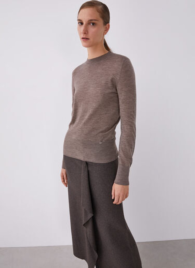 MERINO WOOL PERKINS NECK SWEATER
