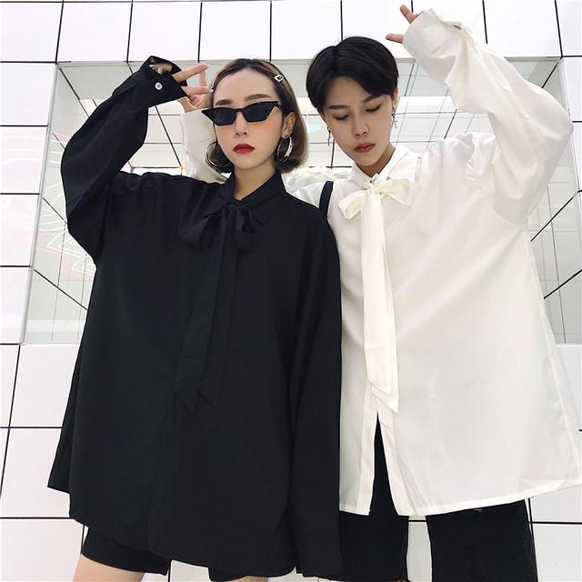 【トップス】「*ユニセック」カジュアル無地長袖POLOネックシングルブレストシャツ18077941