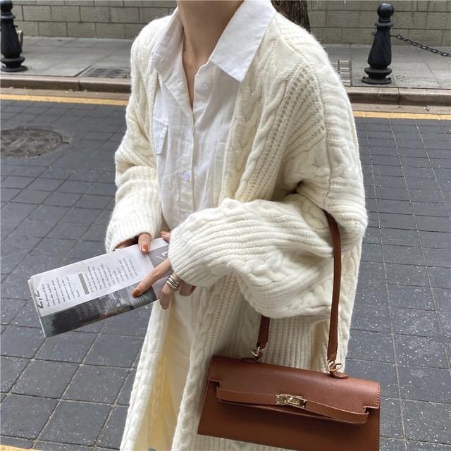 ノーカラー ロング セーター カーディガン 2色 B6302