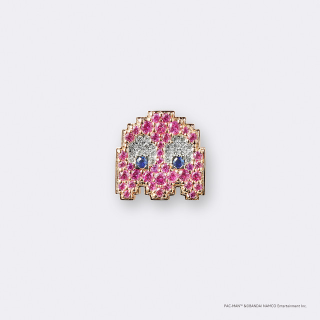 PAC-MAN  (パックマン)ゴーストピンキー K18PG・ピンクサファイア サファイア ダイヤモンドピンバッジ