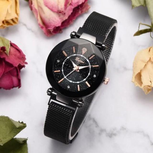 レディース 腕時計 ブラック 黒 星空 ダイヤモンド メッシュ マグネットバックル 幾何学的な表面 クォーツ リストウォッチ 豪華 Trendy-41-black