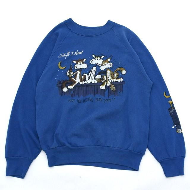 80's MILLER drunk cat print sweatshirt