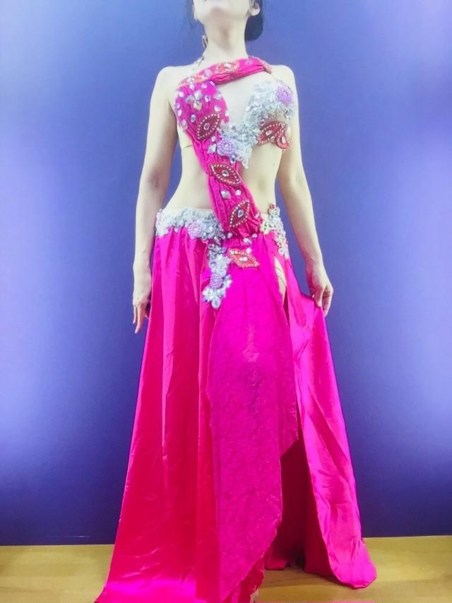 ベリーダンス衣装 ピンク Rose Garden tall サイズ