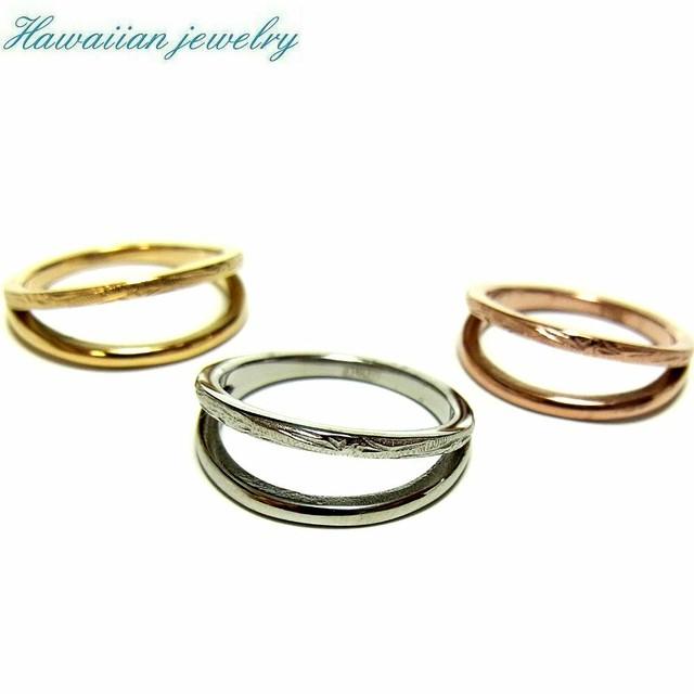 ハワイアンジュエリー リング 指輪 2連 K14イエローゴールド スクロール サージカルステンレス メンズ レディース ペアリング インスタ (grs8660)