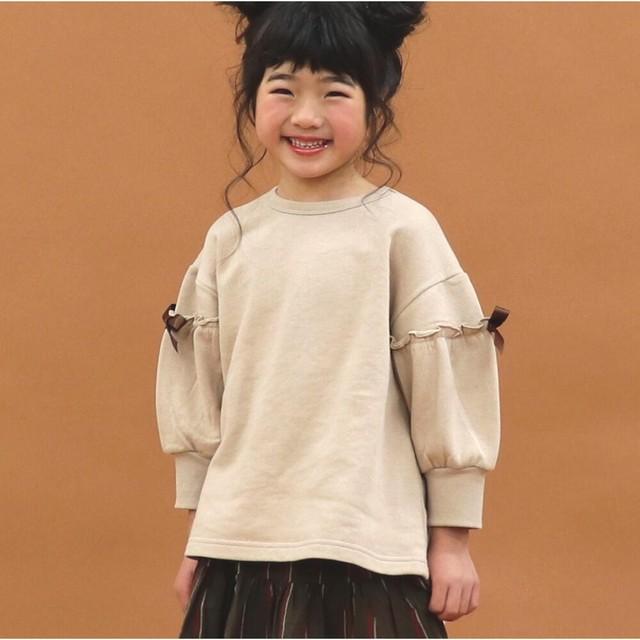 【HOWDY DOODY'S】 袖リボンチュニックトレーナー 裏毛 90cm〜140cm (P21014-04)