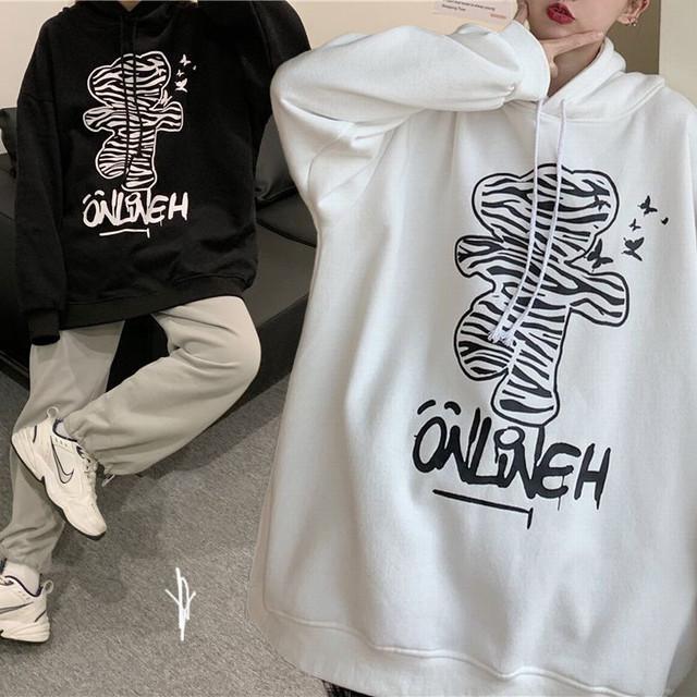 プルオーバー パーカー ゼブラ柄 クマ ベアー プラスベルベット ルーズ 韓国ファッション レディース フーディー ゆったり 大きめ カジュアル ストリート系 ファッション / Loose & Thin Plus Velvet Hooded Sweater (DTC-631127121874)