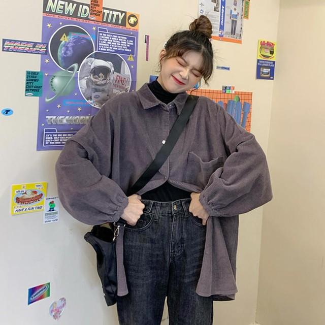 【即納】【送料無料】 旬のゆるだぼシルエット♡ メンズライク コーデュロイ オーバーサイズ ビッグシャツ ドロップショルダー