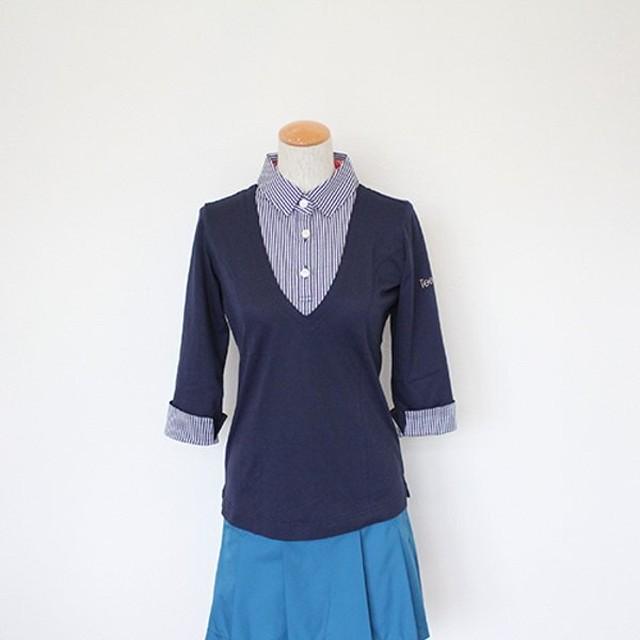 【 Tee-chi 5周年SALE 】Tee-chi レディース/ポロシャツ(七分袖)<NAVY>