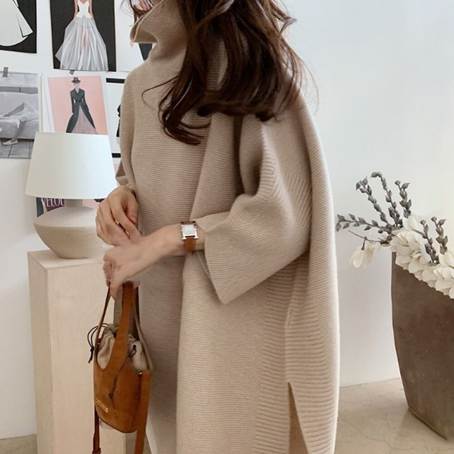 High-Neck Poncho-Style Long Knit T607