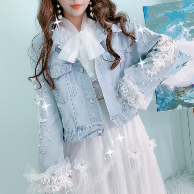 レース付き デニムジャケット Gジャン ジージャン パール ビーズ装飾 デコデニム アウター かわいい ガーリー プリンセス 個性的 映え 韓国 TP3462