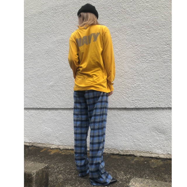 Blue block check pajama pants