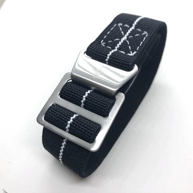 パラトルーパーストラップ (マリンナショナルタイプ) 20mm ブラック/ホワイト 腕時計ベルト